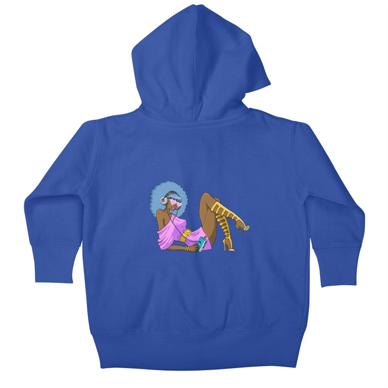 Funky Retro Girl Kids Baby Zip-Up Hoody by anishacreations's Artist Shop