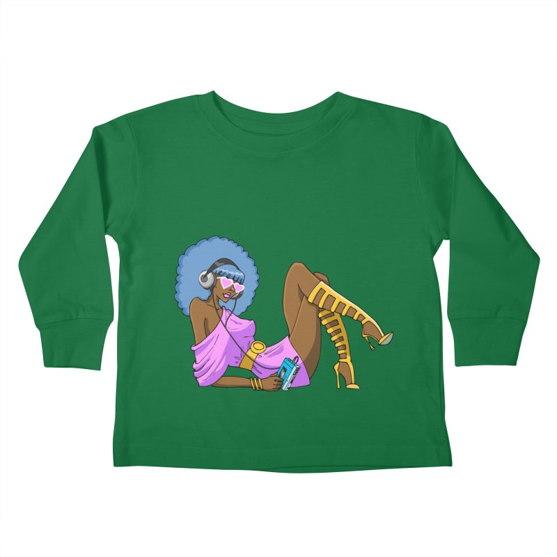 Funky Retro Girl Kids Toddler Longsleeve T-Shirt by anishacreations's Artist Shop