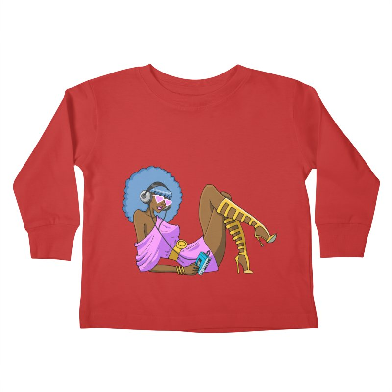 Funky Retro Girl Kids Toddler Longsleeve T-Shirt by anishacreations's Artist Shop