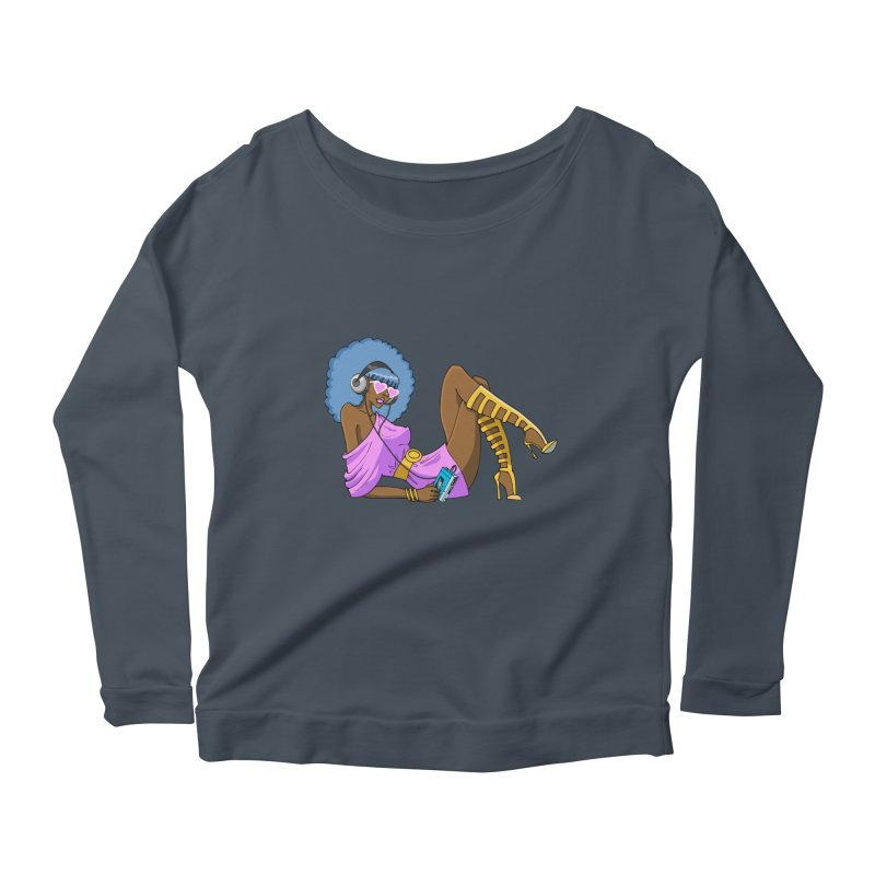 Funky Retro Girl Women's Scoop Neck Longsleeve T-Shirt by anishacreations's Artist Shop
