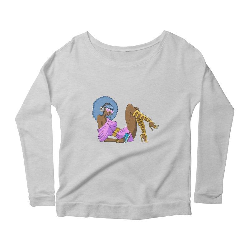 Funky Retro Girl Women's Scoop Neck Longsleeve T-Shirt by anishacreations's Artist Shop