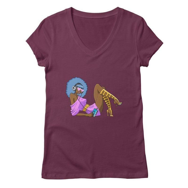 Funky Retro Girl Women's V-Neck by anishacreations's Artist Shop