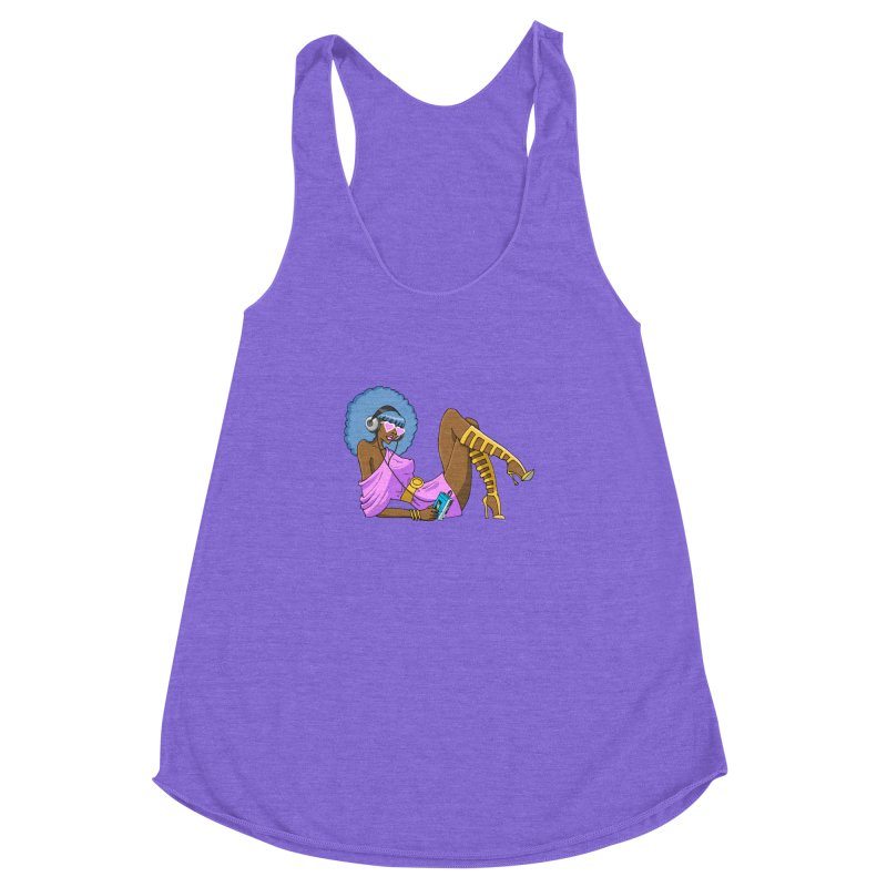 Funky Retro Girl Women's Racerback Triblend Tank by anishacreations's Artist Shop