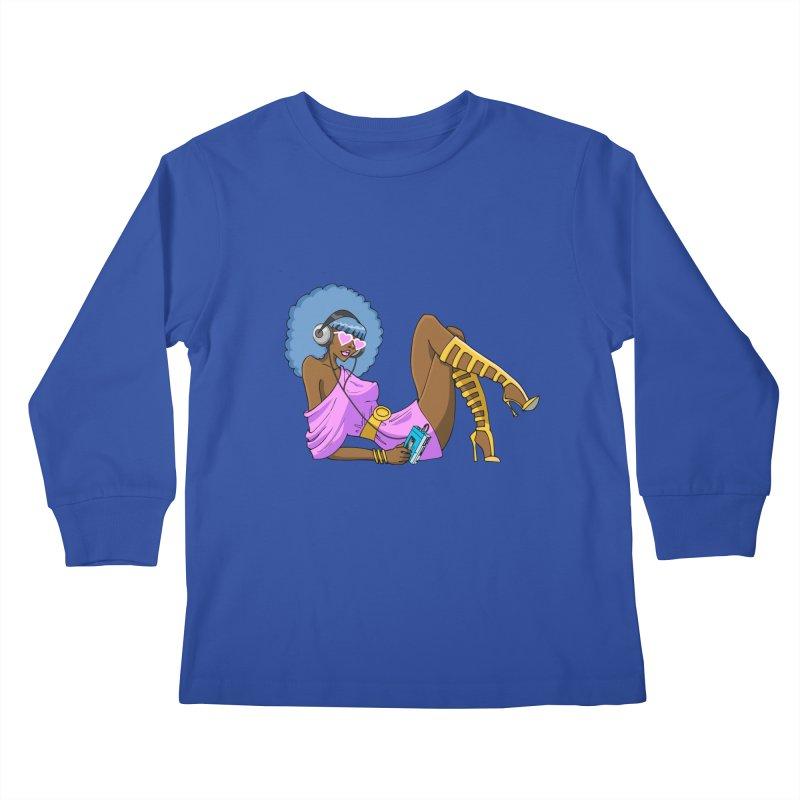 Funky Retro Girl Kids Longsleeve T-Shirt by anishacreations's Artist Shop