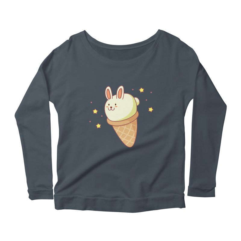 Bunny-lla Ice Cream Women's Scoop Neck Longsleeve T-Shirt by anishacreations's Artist Shop