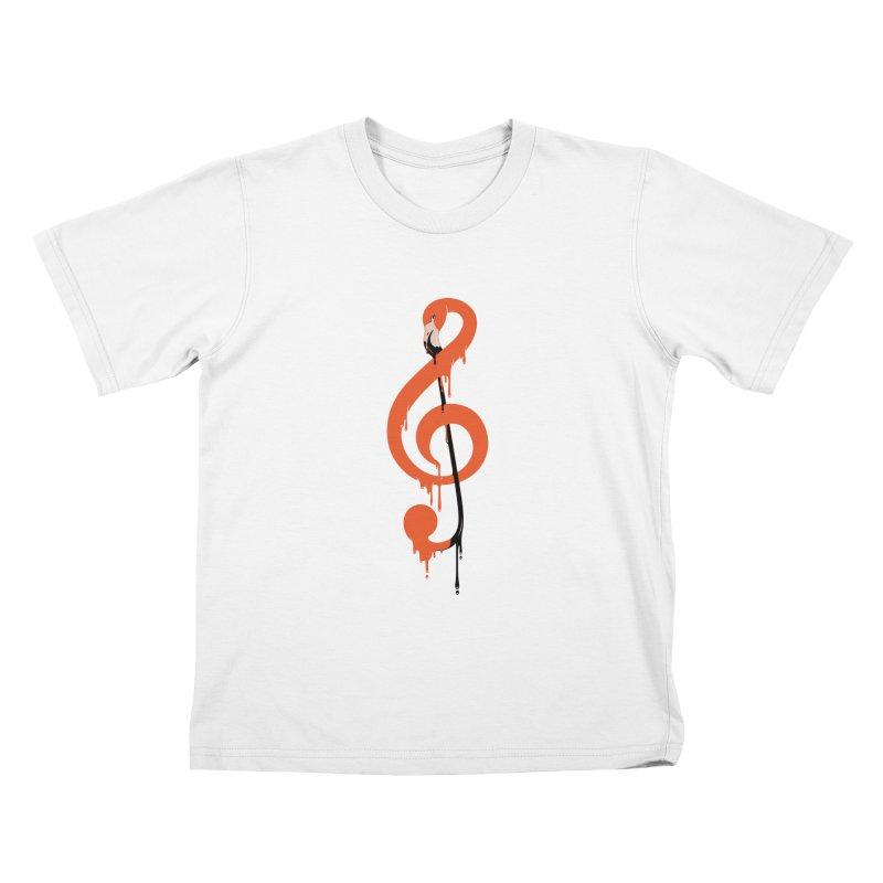 flamingo musical note Kids T-Shirt by anivini's Artist Shop