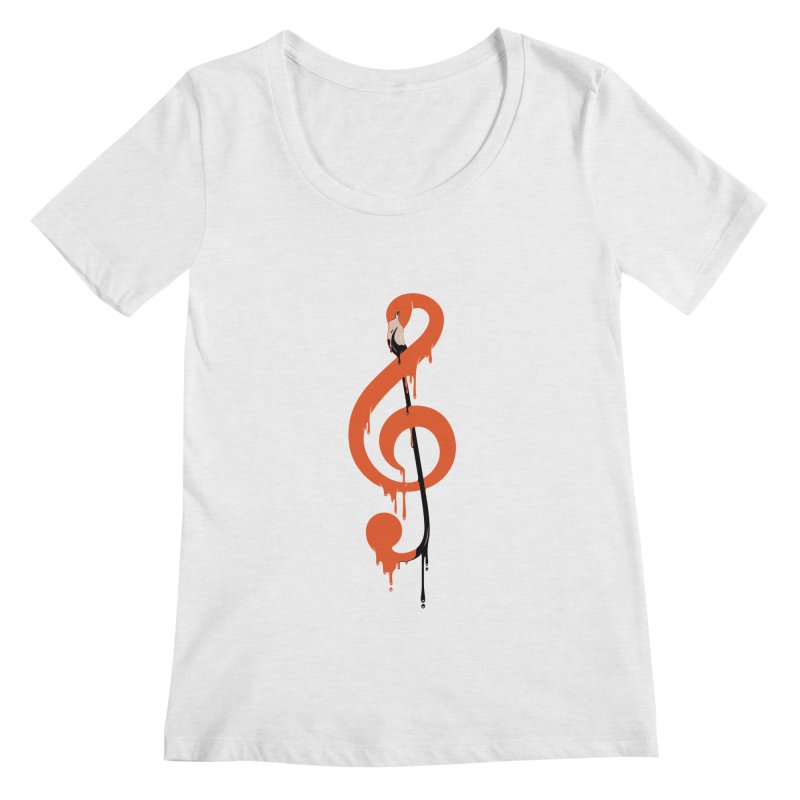 flamingo musical note Women's Scoopneck by anivini's Artist Shop