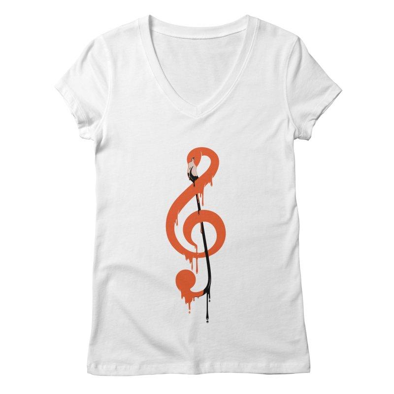 flamingo musical note Women's Regular V-Neck by anivini's Artist Shop