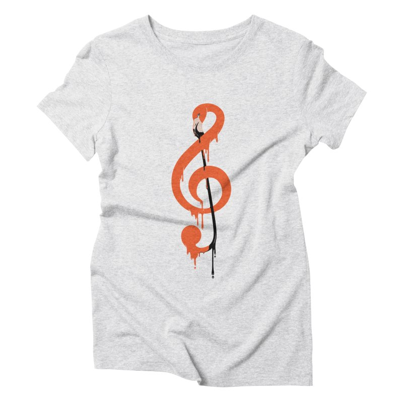 flamingo musical note Women's Triblend T-Shirt by anivini's Artist Shop