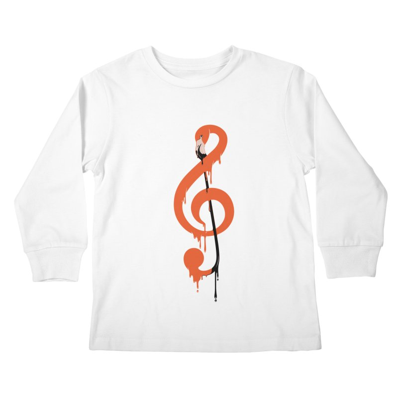 flamingo musical note Kids Longsleeve T-Shirt by anivini's Artist Shop