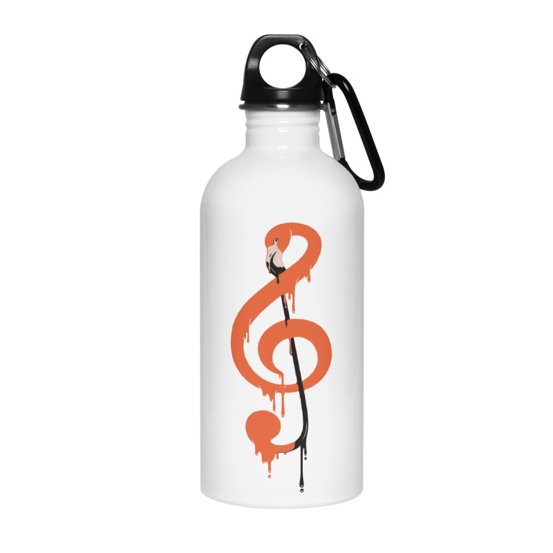 flamingo musical note Accessories Water Bottle by anivini's Artist Shop