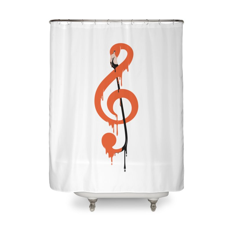 flamingo musical note Home Shower Curtain by anivini's Artist Shop
