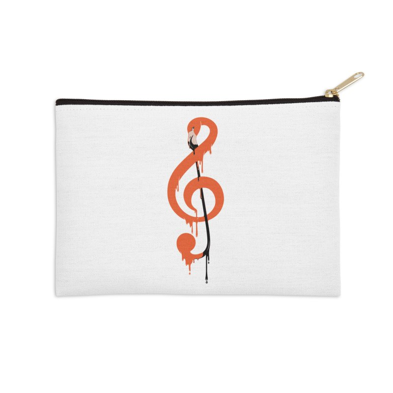 flamingo musical note Accessories Zip Pouch by anivini's Artist Shop