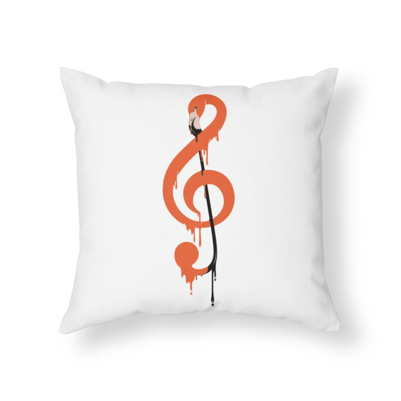 flamingo musical note Home Throw Pillow by anivini's Artist Shop
