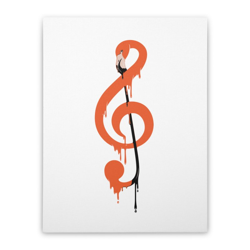 flamingo musical note Home Stretched Canvas by anivini's Artist Shop