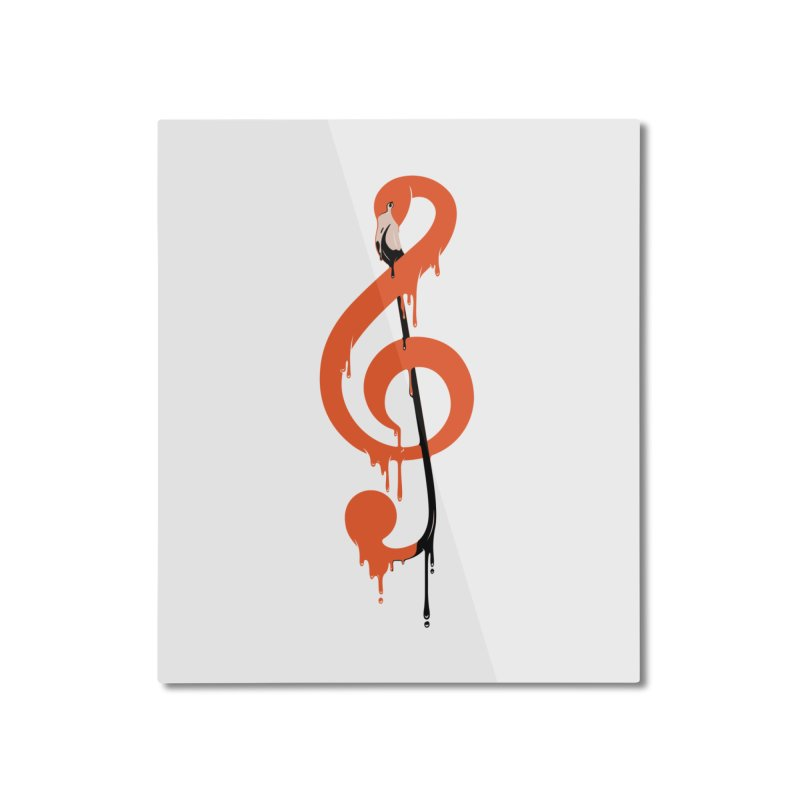 flamingo musical note Home Mounted Aluminum Print by anivini's Artist Shop
