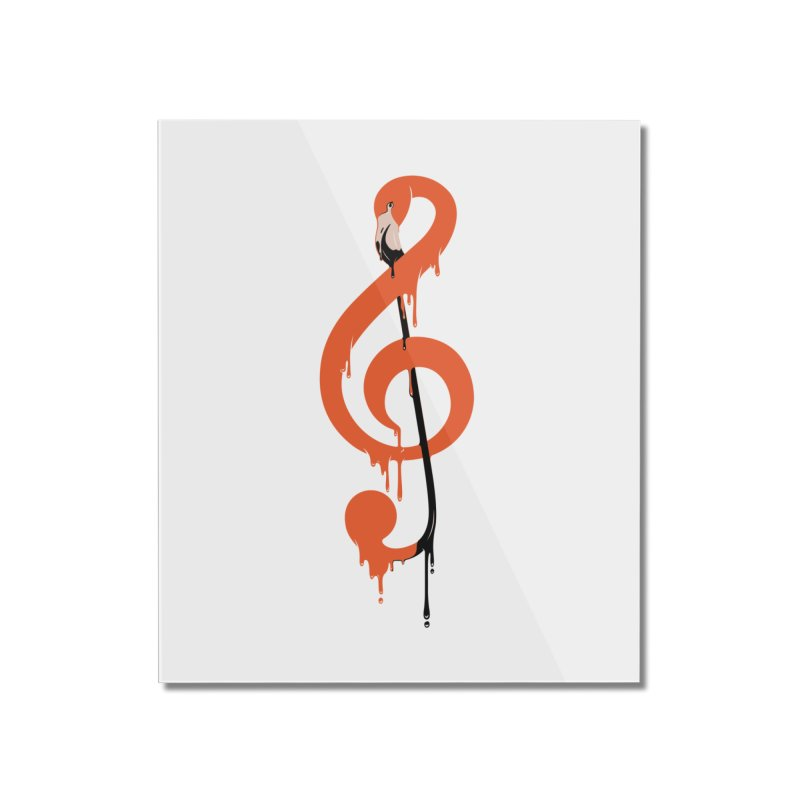 flamingo musical note Home Mounted Acrylic Print by anivini's Artist Shop