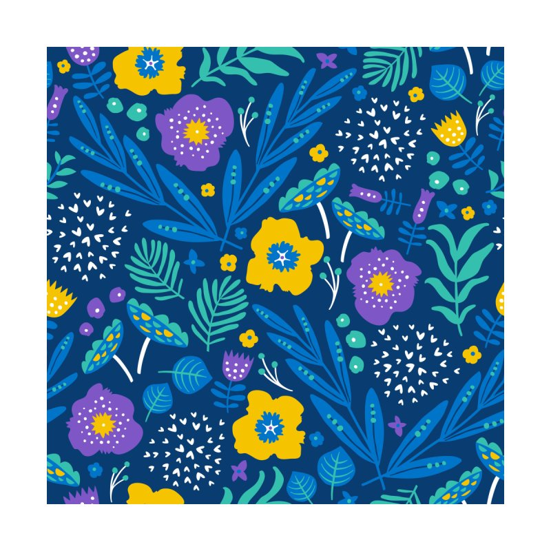 Flora Delight (Blue) None  by Anna Deegan's Artist Shop