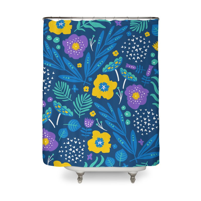 Flora Delight (Blue) Home Shower Curtain by Anna Deegan's Artist Shop