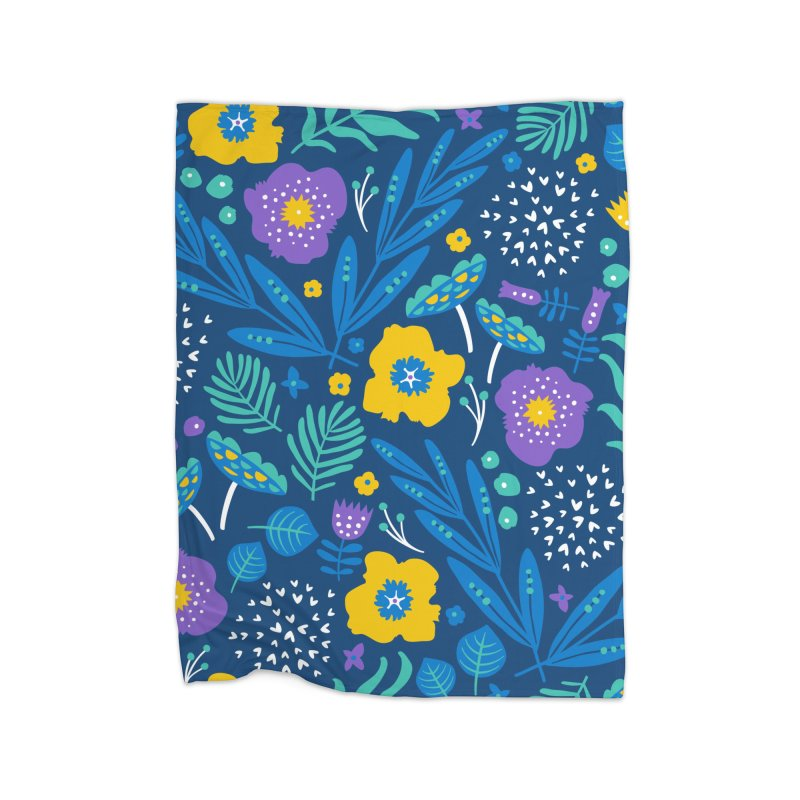 Flora Delight (Blue) Home Blanket by Anna Deegan's Artist Shop