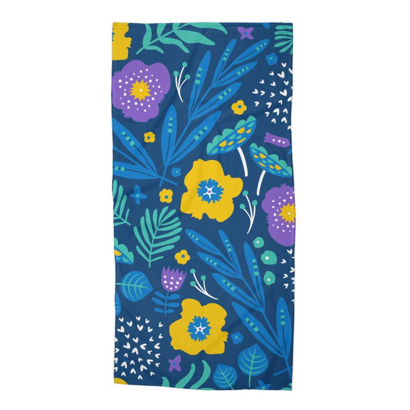 Flora Delight (Blue) Accessories Beach Towel by Anna Deegan's Artist Shop