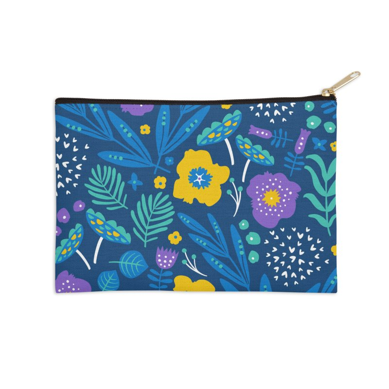 Flora Delight (Blue) Accessories Zip Pouch by Anna Deegan's Artist Shop