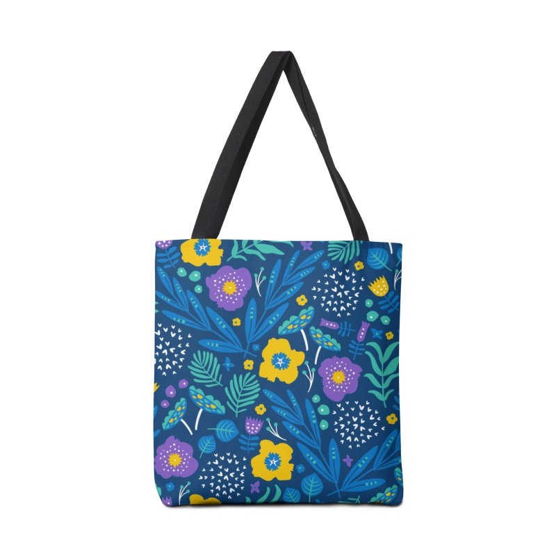 Flora Delight (Blue) Accessories Bag by Anna Deegan's Artist Shop