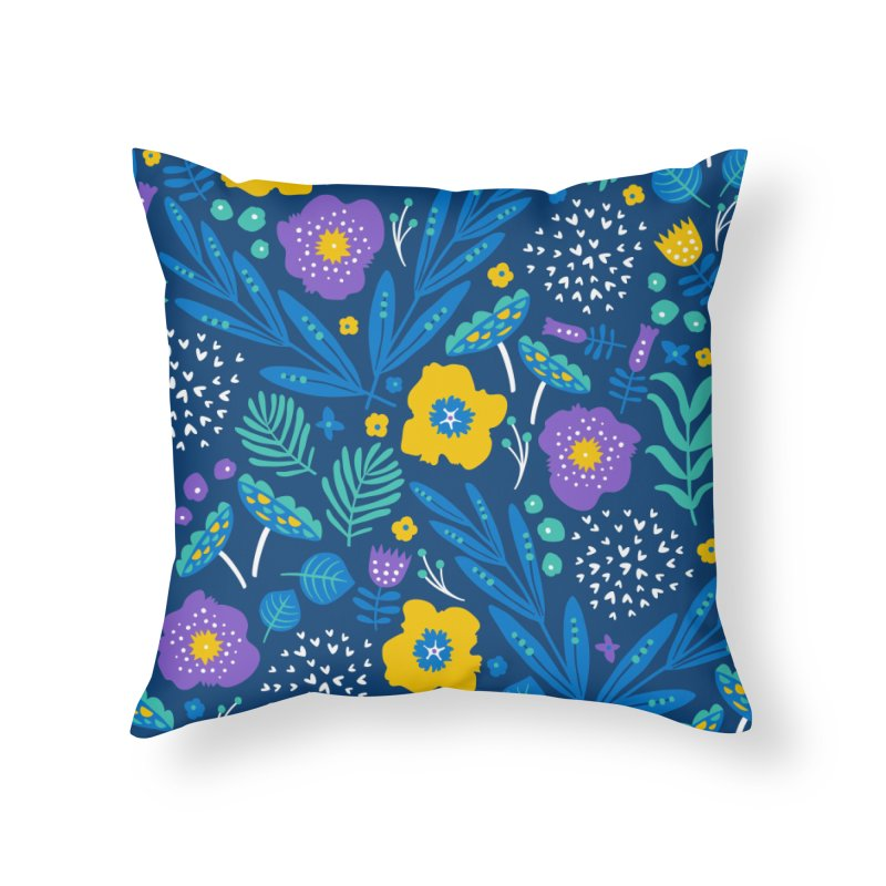 Flora Delight (Blue) Home Throw Pillow by Anna Deegan's Artist Shop