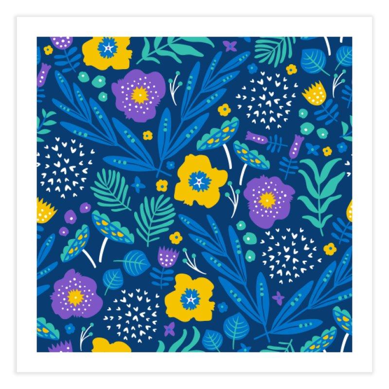 Flora Delight (Blue) Home Fine Art Print by Anna Deegan's Artist Shop