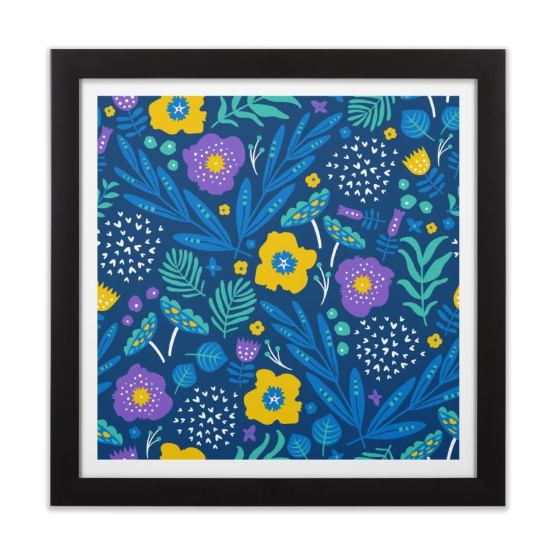 Flora Delight (Blue) Home Framed Fine Art Print by Anna Deegan's Artist Shop