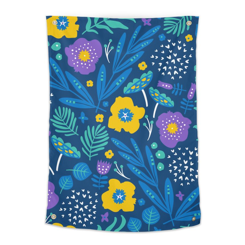 Flora Delight (Blue) Home Tapestry by Anna Deegan's Artist Shop