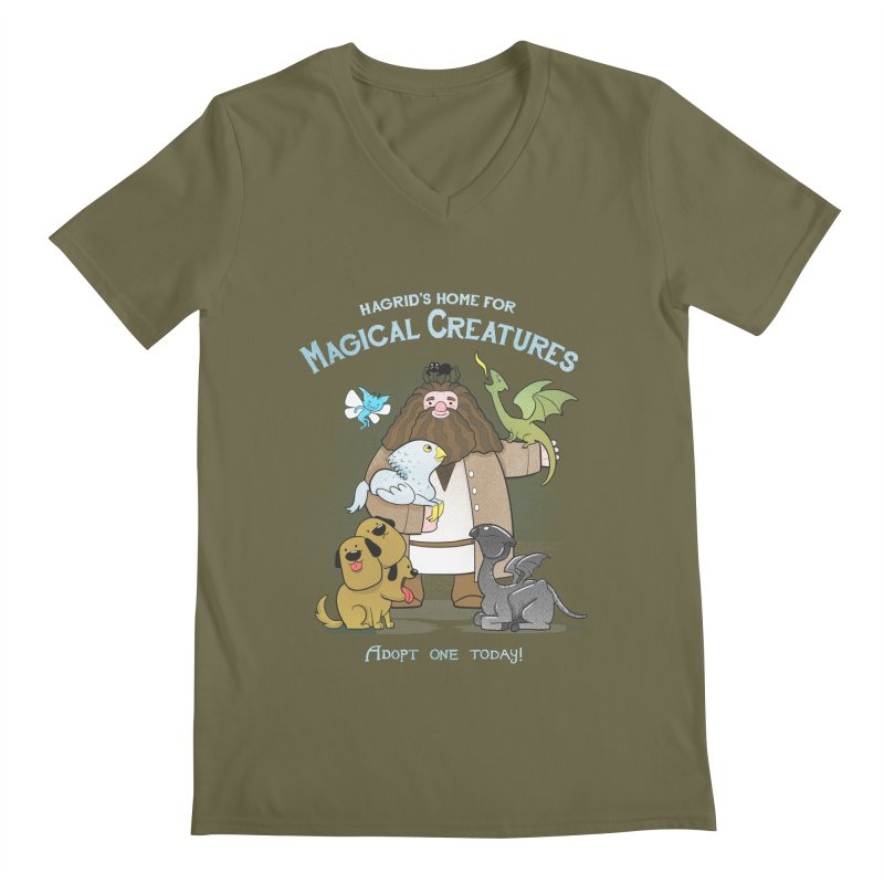 Hagrid's Home for Magical Creatures Men's Regular V-Neck by The Art of Anna-Maria Jung