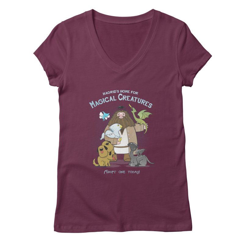 Hagrid's Home for Magical Creatures Women's V-Neck by The Art of Anna-Maria Jung