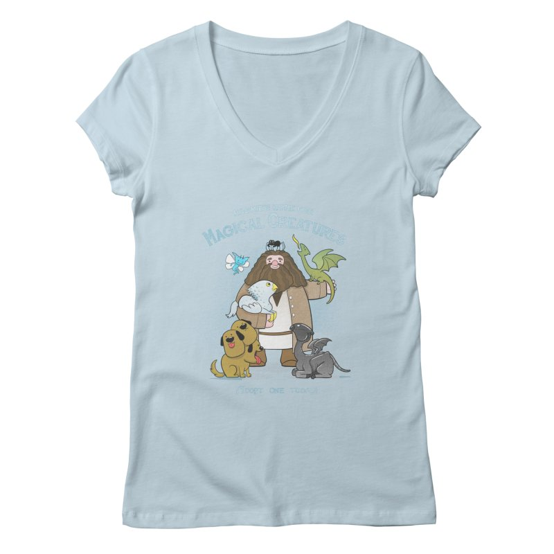 Hagrid's Home for Magical Creatures Women's Regular V-Neck by The Art of Anna-Maria Jung