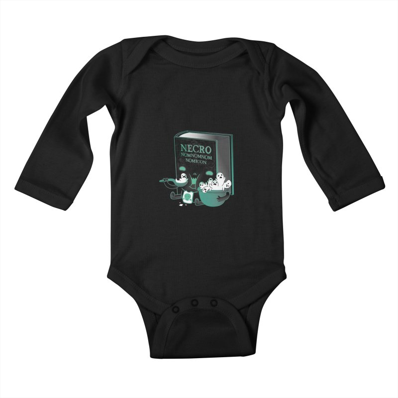 Necronomnomnomicon Kids Baby Longsleeve Bodysuit by The Art of Anna-Maria Jung