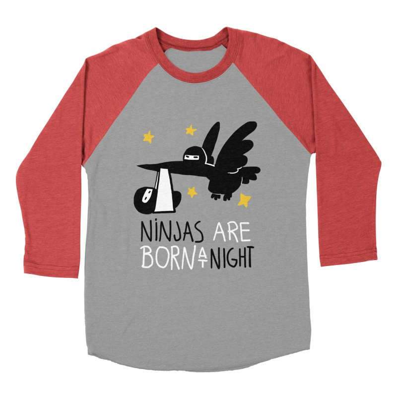 Ninjas are born at night Men's Baseball Triblend Longsleeve T-Shirt by The Art of Anna-Maria Jung