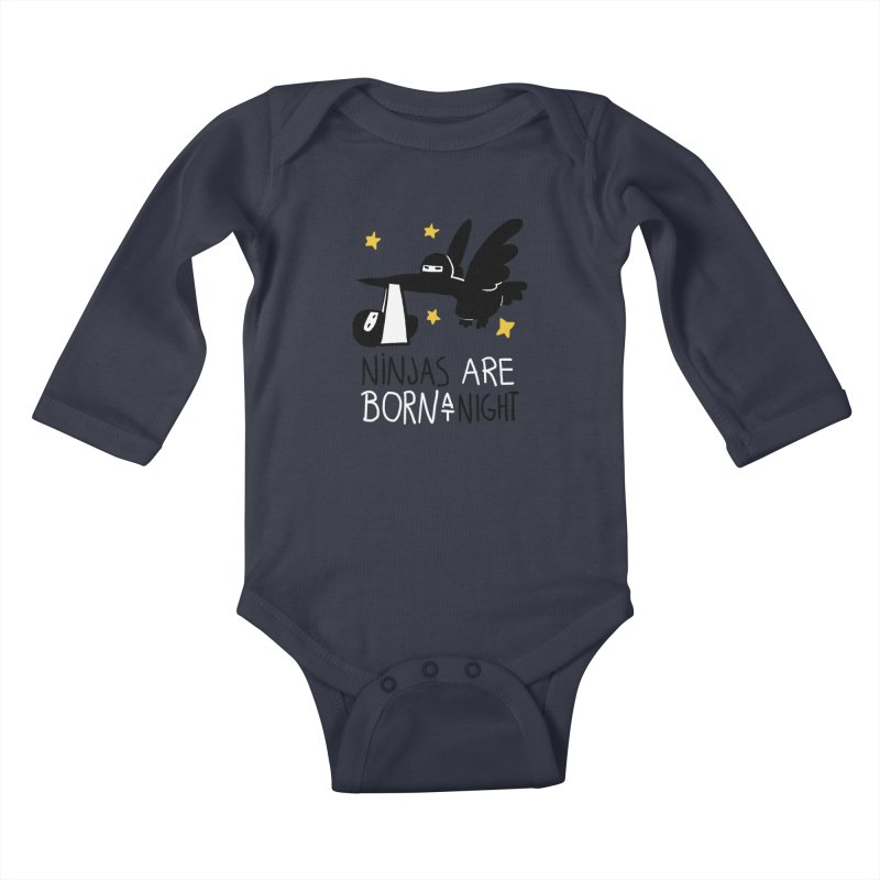 Ninjas are born at night Kids Baby Longsleeve Bodysuit by The Art of Anna-Maria Jung