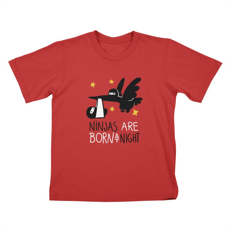 Ninjas are born at night Kids T-Shirt by The Art of Anna-Maria Jung
