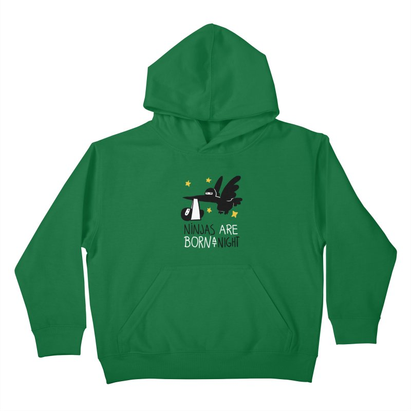 Ninjas are born at night Kids Pullover Hoody by The Art of Anna-Maria Jung