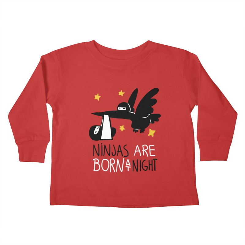 Ninjas are born at night Kids Toddler Longsleeve T-Shirt by The Art of Anna-Maria Jung