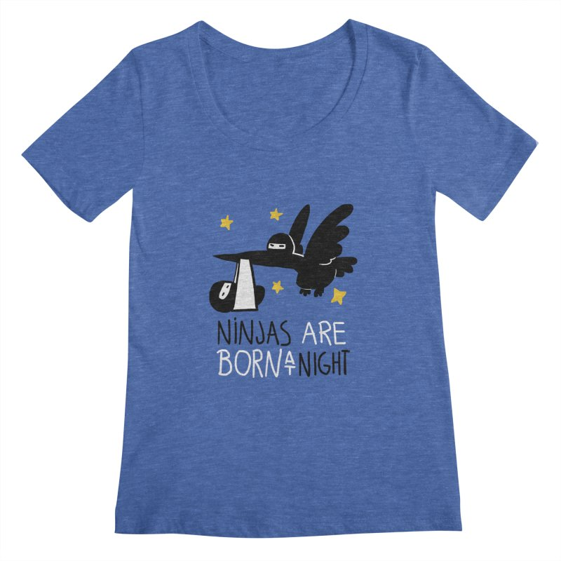 Ninjas are born at night Women's Scoopneck by The Art of Anna-Maria Jung