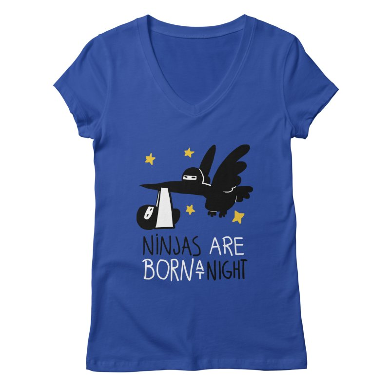 Ninjas are born at night Women's V-Neck by The Art of Anna-Maria Jung