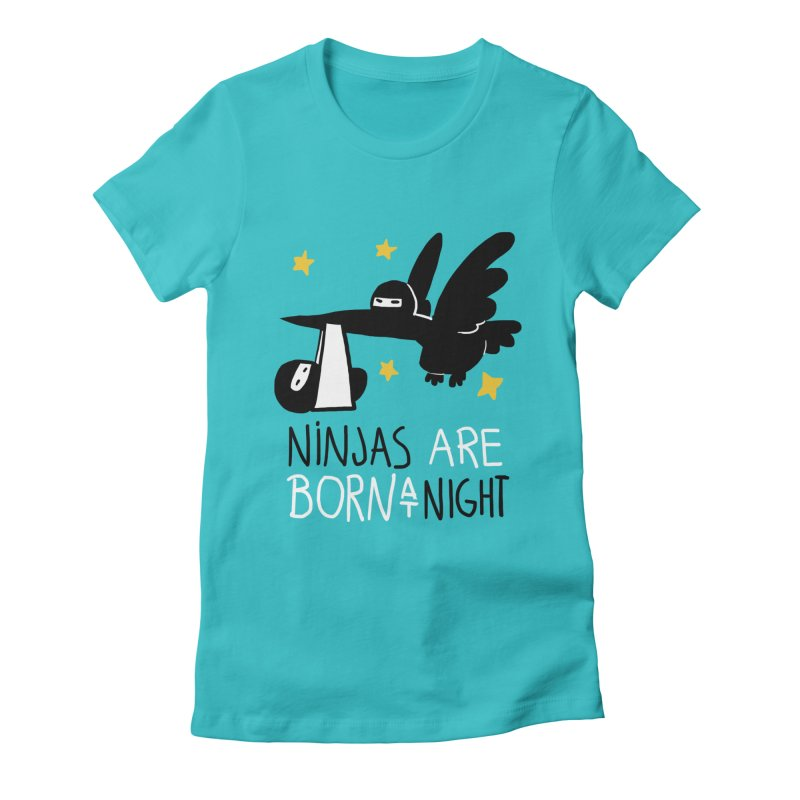 Ninjas are born at night Women's Fitted T-Shirt by The Art of Anna-Maria Jung