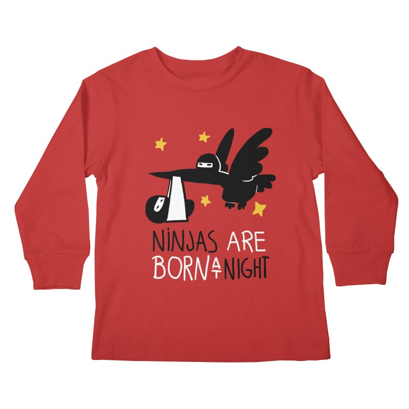 Ninjas are born at night Kids Longsleeve T-Shirt by The Art of Anna-Maria Jung