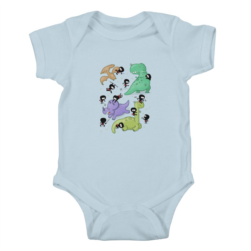 Ninjas vs Dinosaurs Kids Baby Bodysuit by The Art of Anna-Maria Jung