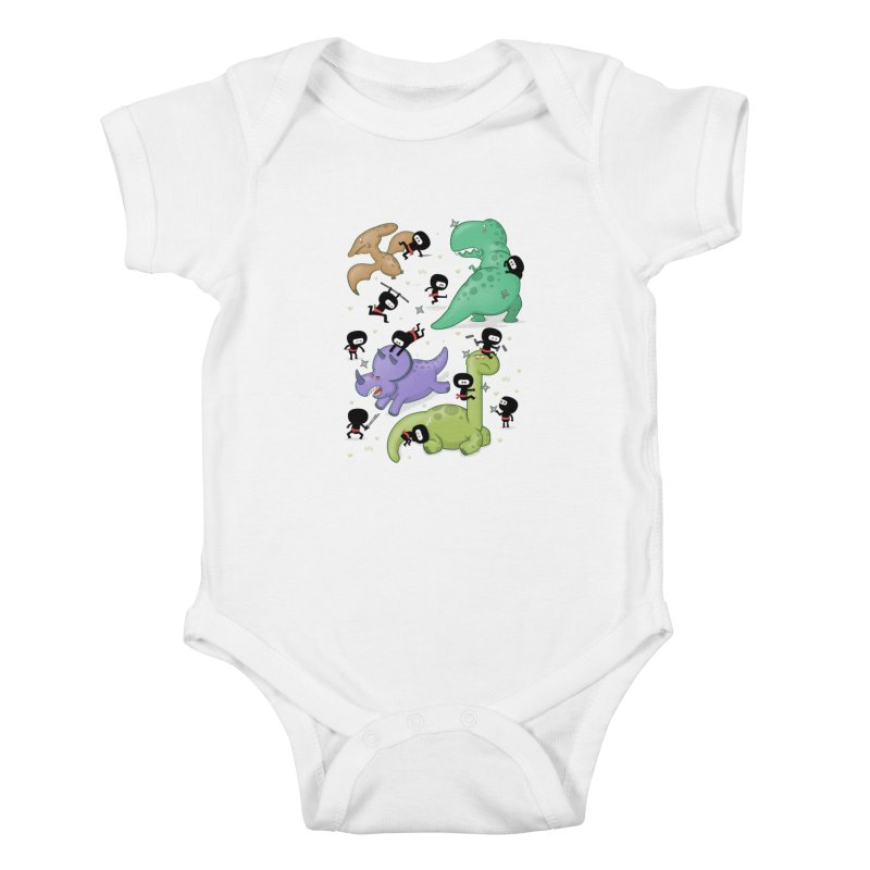 Ninjas vs Dinosaurs Kids Baby Bodysuit by The Art of Anna-Maria Jung