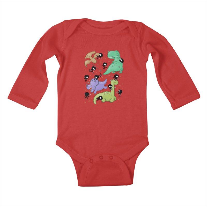 Ninjas vs Dinosaurs Kids Baby Longsleeve Bodysuit by The Art of Anna-Maria Jung