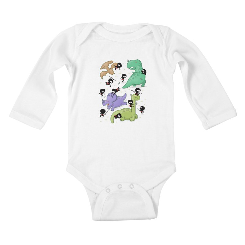 Ninjas vs Dinosaurs Kids Baby Longsleeve Bodysuit by The Art of Anna-Maria Jung