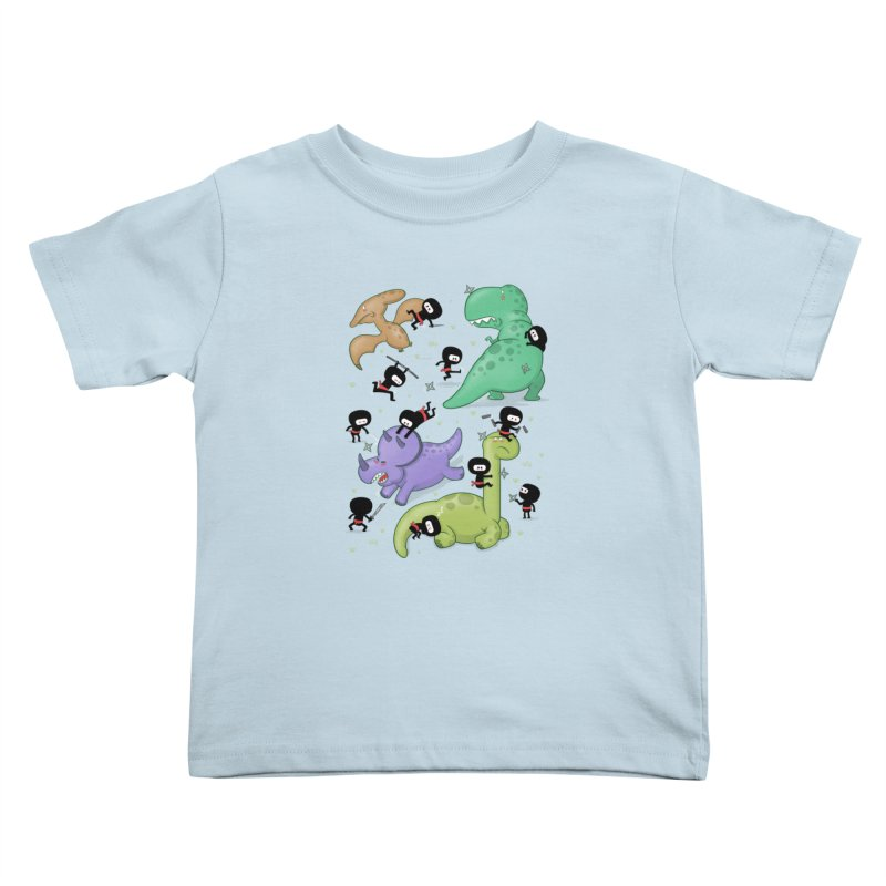 Ninjas vs Dinosaurs Kids Toddler T-Shirt by The Art of Anna-Maria Jung