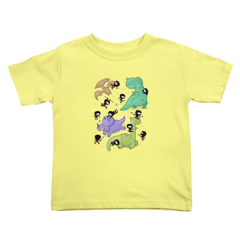 Ninjas vs Dinosaurs Kids Toddler T-Shirt by The Art of Anna-Maria Jung